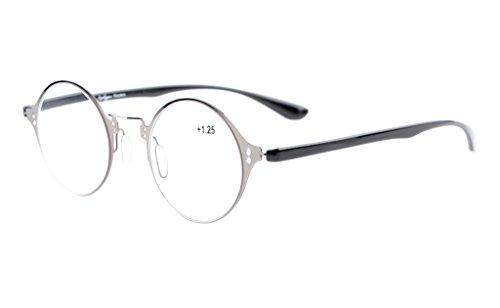 Eyekepper leggero Flex rotondi occhiali da lettura alla moda unico Crystal Clear Vision Gunmetal +1.0 - Gunmetal Moda