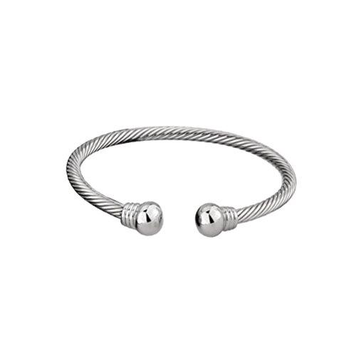 ROSENICE Magnetische Armband Edelstahl High Power Pain Magnetfeldtherapie Armband für Frauen Männer - 2 Tone Medium, Weißgold -