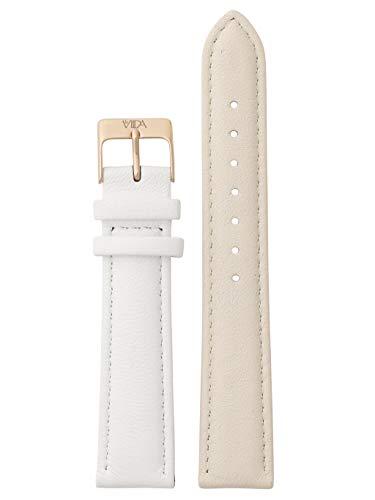 laVIIDA Uhrband LB-SVI2024R Ersatzband Uhrenarmband Leder 18 mm Creme-Weiß-Rosé