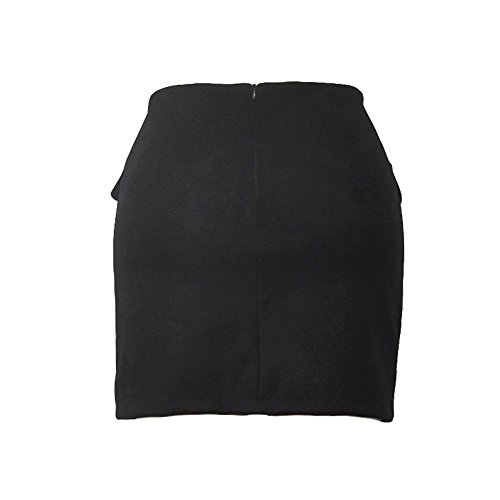 2018 New Femmes Solid Pocketed Bandage Bodycon Mini Demi Jupe Noir