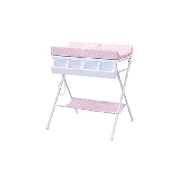 Baby Changing Table Baby Storage Bath Tub Unit Station Dresser Foldable Cross Leg Style AA-SS-Baby Changing Table 【Two in One Design】This baby changing table can be used as baby massaging table as 【Stable Construction】Non-skid feet covers and a sturdy frame keep the table stable and prevent movement. 【Waterproof Material】The surface of the top table is made of durable and wearable Oxford cloth and it can be used for a long period. 10