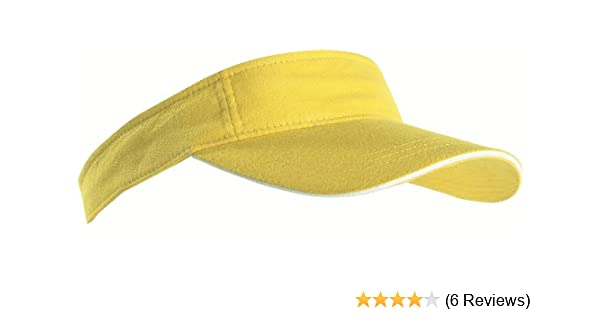 SPORTS SUN VISOR SANDWICH PEAK GOLF TENNIS CAP HAT - 12 COLOURS (MB6123)  (YELLOW   WHITE) 8f84d330005e