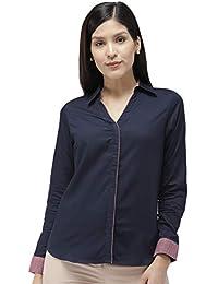Ombré Lane Women's Navy Blue V-Neck Cotton Full Sleeves Shirt.