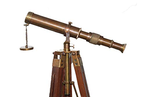 India .Nautical .Handwerkliches Messing-Teleskop mit braunem Stativ, Antik-Design - Antikes Messing Stativ