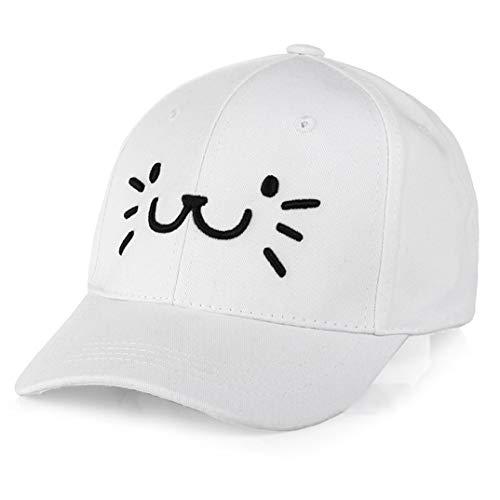 Kostüm Girls White Cat - Barcarine World -Wide Fashion Adjustable Embroidery Baseball Cap Cute Cartoon Cat Face Hip Hop Flat Casual Cap for Boy Girls(None M White)