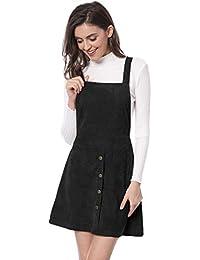 Allegra K Damen A Linie Button Dekor Corduroy Trägerkleid Kleid