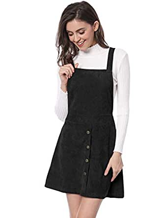 c3217cb82d Allegra K Women s Straps Button Decor A-line Corduroy Skirt Overall Dress  XS Black