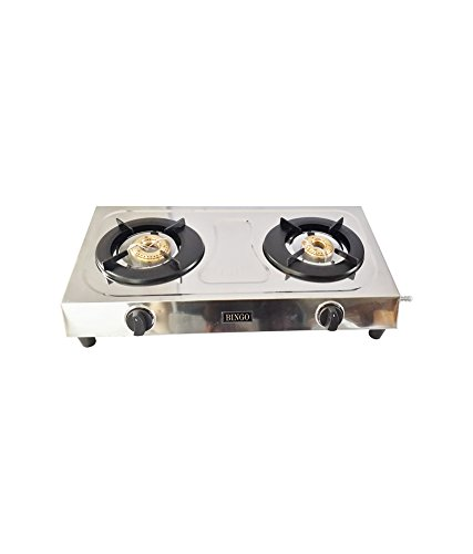 Pigeon Bingo Stainless Steel 2 Burner Gas Stove, Silver