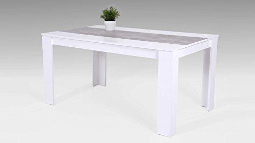 Möbel Akut Küchentisch Esstisch Lilo Tisch Esszimmertisch weiß Betonoptik 140x80 cm (Küchentisch, Möbel)