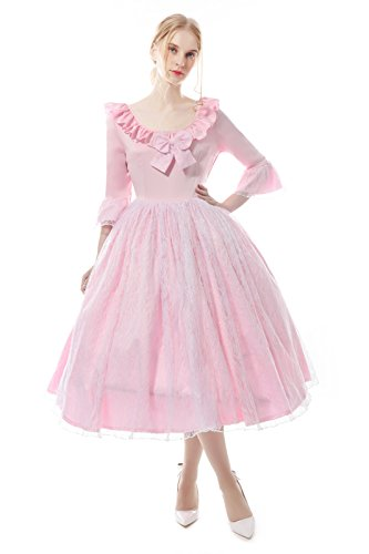 Nuoqi Damen Prinzessin Kleid mit Underskirt Palace Royal Masquerade Partei Kostüm (Rosa, EU 48)