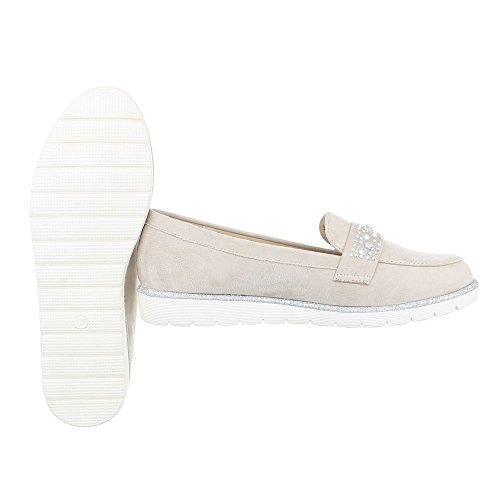 Ital-Design Slipper Damenschuhe Low-Top Slipper Halbschuhe Beige