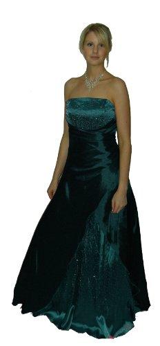 Abendkleid mit Rückenschnürung mit silbernen Steinchen 2007A Petrol