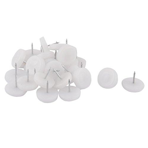 sourcingmap® Nylon Möbel Stuhl Tabelle-Bein-Fuß Schoner Polster Gleiten Nagel 24mm 30 stück weiß (Beine Gleiten)
