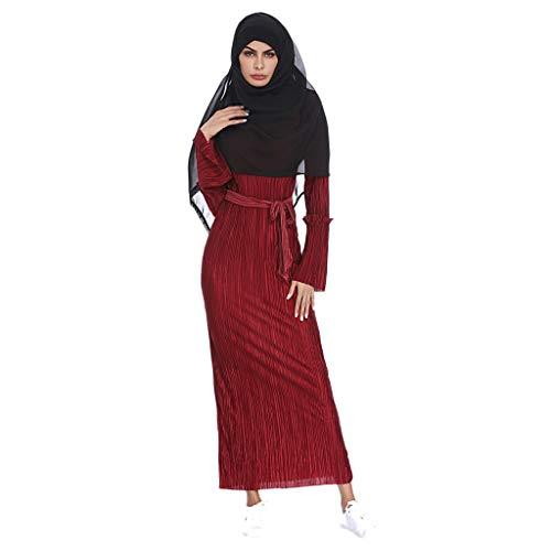 (Kleid Damen,Muslimische Schlankes, Plissiertes, gestreiftes Hüftkleid mit Trompete Elegante Swing Kleid Kleine Stickerei Arabische Sommer Islamische Strickjacke Roben (rot,L))