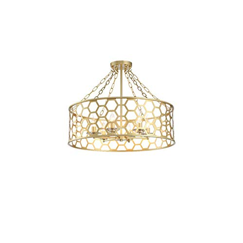 Unbekannt 6 Licht Kristall Chrom Finish Semi-Flush Mount Deckenleuchte, Beleuchtungskörper mit Metallschirm für Wohnzimmer Schlafzimmer, Gold,⌀71cm -