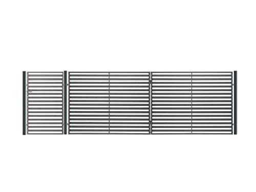 Einfahrtstor Hoftor Doppelflügeltor Gartentor Berlin 350 x 150 cm, mit Pforte 94 cm, elektr. Antrieb und Riegelset, Komplett-Set, Gesamtbreite ist ca.487 cm