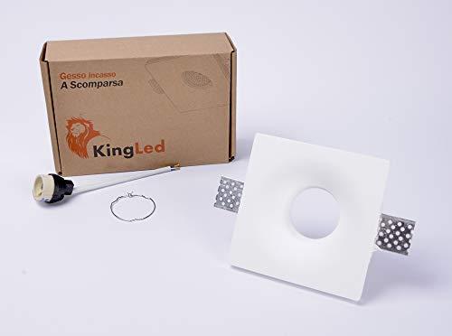 KingLed - Portafaretto da Incasso in Gesso Quadrato 120x120mm, Interno Stondato Rotondo per Faretti GU10 e MR16 Cod. 1426