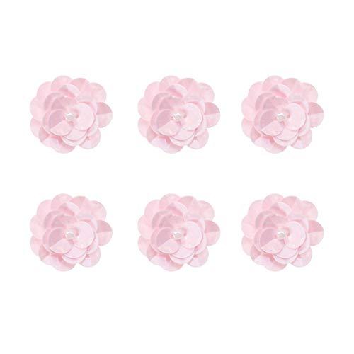 SUPVOX 18 Stück Blumen Applikationen 3D Perlenstickerei Nähen auf Blumen Pailletten Bestickt Spitze Stoff Hochzeit Kleid Tuch Zubehör (Rosa)