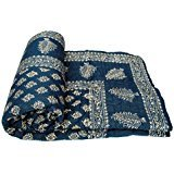 Avighna Print Hand made Gold & Silver Printed Jaipuri Razai Dark Blue Cotton Single Bed Quilt