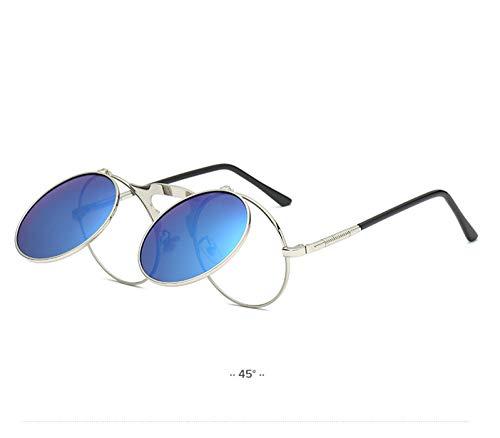 Daawqee NEW Vintage Steampunk Gothic Style Round Frame Flip Sunglasses For Men Women Lentes Gafas De Sol Mujer Oculos Feminino 7