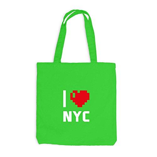 Jutebeutel - I Love NYC - USA Reisen Herz Heart Pixel Hellgrün
