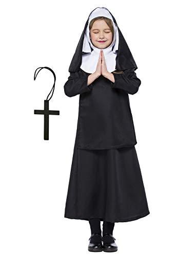 Mädchen Katholische Nonne Kostüm Baby Mädchen Halloween Nonne Kostüm Saint Days Kostüm für Kinder (122/128 (6-7 Jahre)) (Saint Dress Up Kostüm)