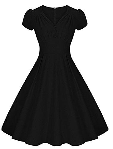 1bbb28f91719 VKStar® A-Linie V-Ausschnitt Sommer Vintage 1950s Klassisch Damen Kurz Arm  Kleid