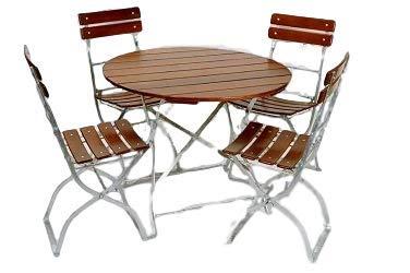 Kunibert 'Bière de Jardin modèle Brasserie qualité 1 A Brasserie Rond 1 Table Ronde 90 cm + 4 chaises