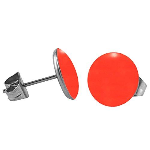 Mein-Ohrstecker Chirurgenstahl Emaille Ohrringe Edelstahl Farbe Leuchtend Rot, Größe 8 mm -