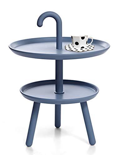 Suhu Couchtisch Klein Tisch Rund Gartentisch Kunststoff Kleiner Beistelltisch Runder Tische Outdoor Bistrotisch Mini Sofatisch Kaffeetisch Modern Dekotisch Für Wohnzimmer Balkon Und Terrasse Blau - Couchtisch Blauer