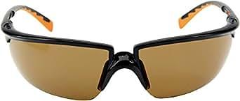 3M Solus3SO Schutzbrille, AS/AF/UV, PC, inkl. Mikrofaserbeutel, Bronze getönte Scheiben, Rahmen Schwarz/Orange