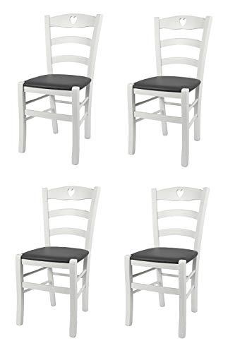 Toychairs Set 4 sedie Cuore 38 per Cucina e Sala da Pranzo Struttura Robusta Legno di faggio Laccato Bianco e Seduta Imbottita e Rivestita Ecopelle