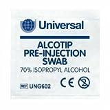 Shermond Alcotip Universal-Tupfer zur Desinfizierung vor Injektionen, in Alkohol getränkt, 3x3cm, 100Stück