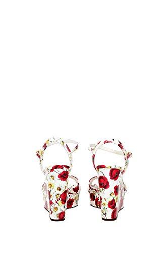 Dolce&Gabbana compensées escarpins chaussures sandales femme cuir vernis impress Multicouleur