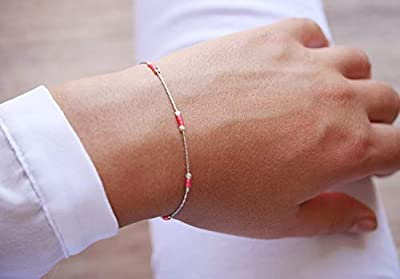 Cadeau Noël Femme - Bracelet minimaliste argent 925 - chaine serpent argent - bracelet ultra fin - perles miyuki rose fluo - bijoux été coloré plage - boho chic