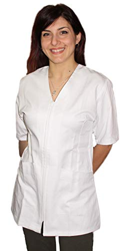 Petersabitidalavoro casacca, camici da lavoro donna con zip,bianco,cotone, estetista,parrucchiera, maestra asilo,alimentari (l, bianco)