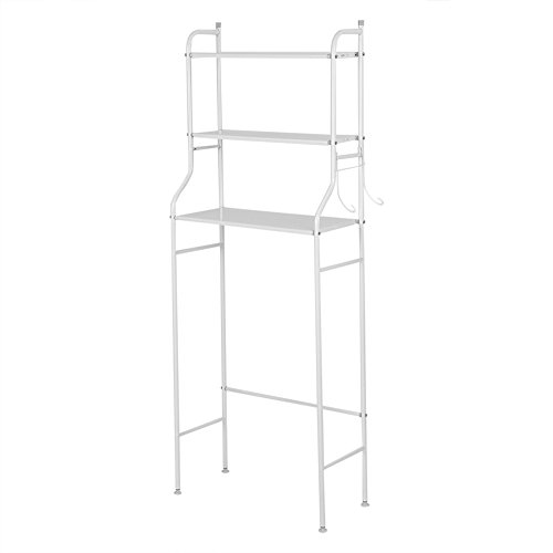 Toiletten-Regal, 3-Tier Eisen Toiletten Tuch Lagerregal Halter über Badezimmer Regal Organisator Toilette WC Racks Finishing Racks Boden Waschmaschine Regal (Weiß)