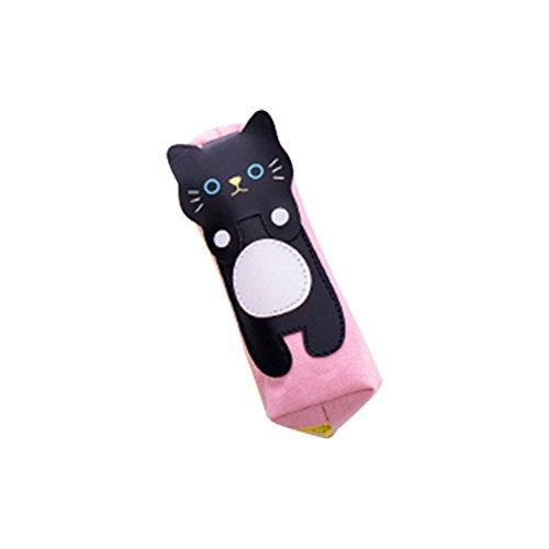 Fablcrew Kugelschreiber mit Bleistift, Kugelschreiber, Bleistift, Schwarz mit Katzen-Muster-Segeltuch-Beutel, 18,6* 8.6cm, Rosa, für Mädchen, Jungen