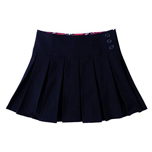 Bienzoe Mädchen Teflon Dehnbar Schuluniformen Gefalteter Rock Marine Größe 7 (Kostüm Ginny Weasley)