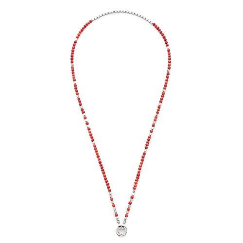 JEWELS BY LEONARDO Damen-Kette ohne Anhänger Varese Darlin's Edelstahl Glas rot koralle silber 70 cm Clipverschluss 016598 (Schmuck, Der Aus Korallen)