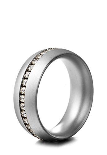 Heideman Ring Damen Series 8mm aus Edelstahl Silber farbend matt Damenring für Frauen mit Swarovski Stein Zirkonia Weiss im Brillant Schliff 1,5mm