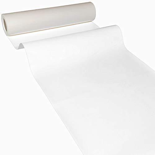 JUNOPAX 50m x 0,40m Papier Tischläufer weiß | nass- und wischfest