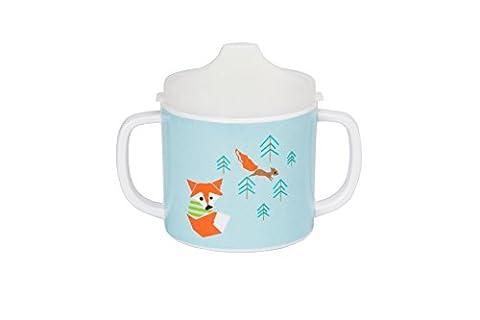 Lässig Dish Cup Melamin Tasse Trinkbecher mit Henkel Schnabeltasse aus 100% Melamin BPA-frei und rutschfest, Little Tree (Französisch Dish)