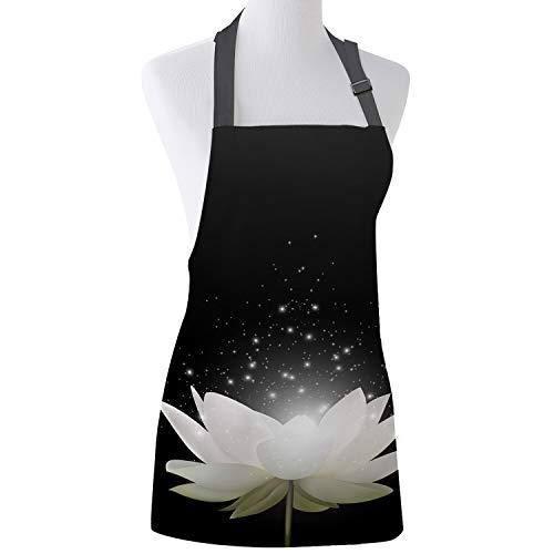 WELQUN Schürze Aprons Blooming Lotus In The Dark Küchenschürzen Für Frauen Kinder Arbeitskleidung Männer Nagel Techniker Kellnerin Kochschürze