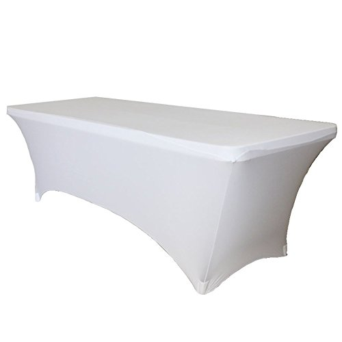 48 Zoll Breite Rechteckiger Tisch (HANSHI rechteckig Tischdecke Stretch Spandex Tight Fit Tisch für Hochzeiten Party Bankett- und alle Sie sie brauchen hzc27, weiß, 48