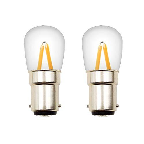 Akaiyal BA15D LED Glühbirne 2W 220V COB Filament Doppel Kontakt Bajonett SBC T22 Edison Screw Nähmaschine Birne Warmweiß 3000K für Nähmaschine Lampe Appliance Beleuchtung (2-Stück, Nicht Dimmbar) (Appliance Glühlampe Lampe)