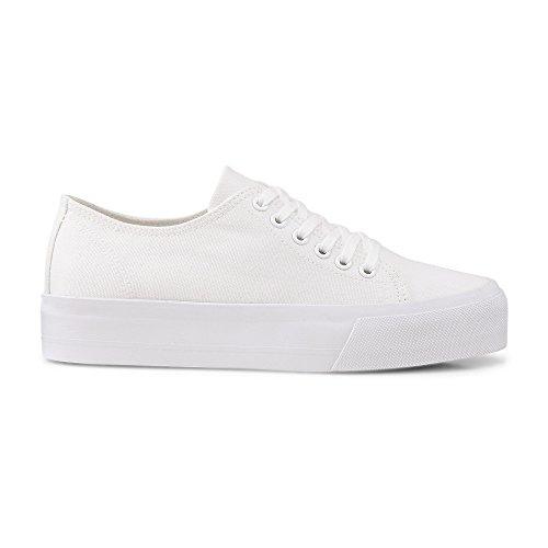 Another A Damen Canvas Sneaker, Textil Schnürer in Weiß mit Breiter Plateausohle Weiß Textil 38