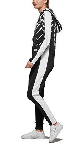 Onepiece Damen Jumpsuit Racer Printed Schwarz (Black)