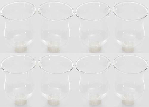 Novaliv 8X Teelichtaufsatz klar 8 cm Glasaufsatz für Kerzenleuchter Kerzenständer Glas Adventskranz Teelichthalter Stabkerzenhalter Kerzenpick 6cm