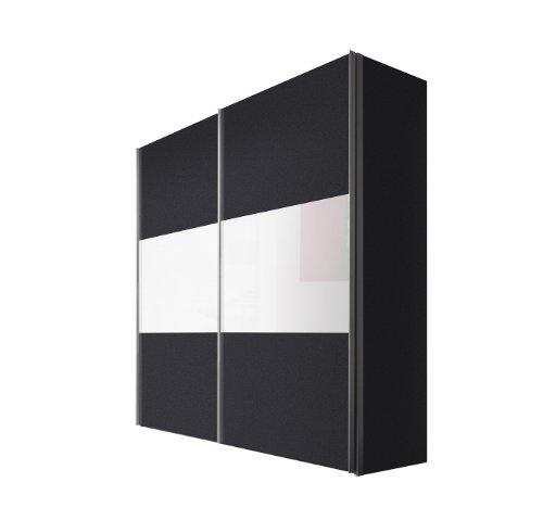 Express Möbel Schwebetürenschrank 200 cm Graphit Nachbildung, 2-türig, Absetzung Weißglas, BxHxT 200x236x68 cm, Art Nr. 46890-971